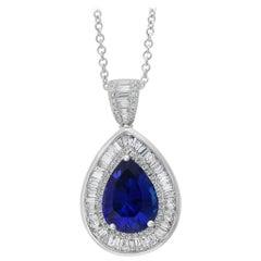 Effy Hematian 18 Karat White Gold Diamond and Tanzanite Pendant