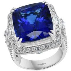 Effy Hematian 18 Karat White Gold Diamond and Tanzanite Art Deco Ring
