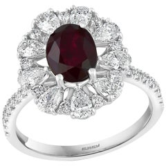 Effy Hematian 18 Karat White Gold, Diamond, Pear Shape Diamonds and Ruby Ring