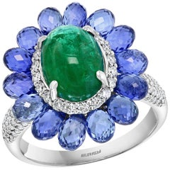 Effy Hematian 18 Karat White Gold Diamond, Sapphire and Emerald Victorian Ring