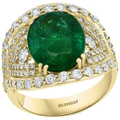 Effy Hematian 18 Karat Yellow Gold Diamond and Fine Emerald Ring