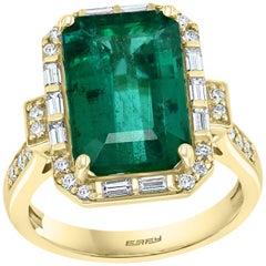 Effy Hematian 18 Karat Yellow Gold Diamond and Fine Emerald Art Deco Ring