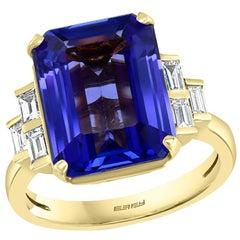 Effy Hematian 18 Karat Yellow Gold Diamond and Tanzanite Ring
