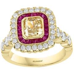 Effy Hematian 18 Karat Yellow Gold, Diamond, Yellow Diamond and Ruby Ring