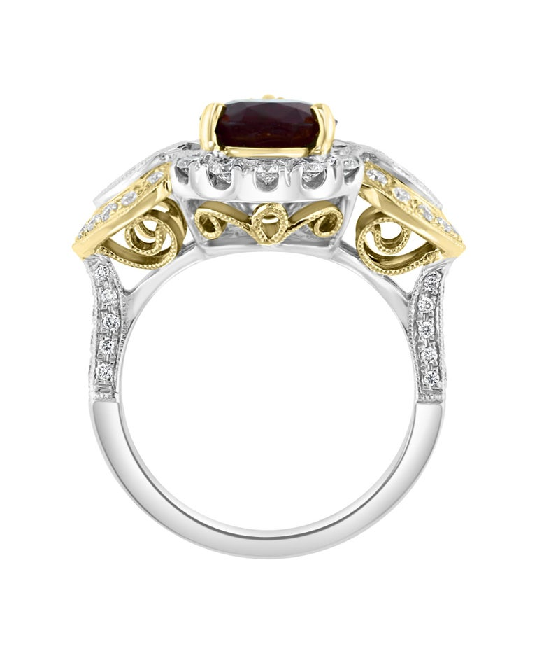 Art Nouveau Effy Hematian 18 Karat 2-Tone Gold Diamond and Ruby Ring For Sale