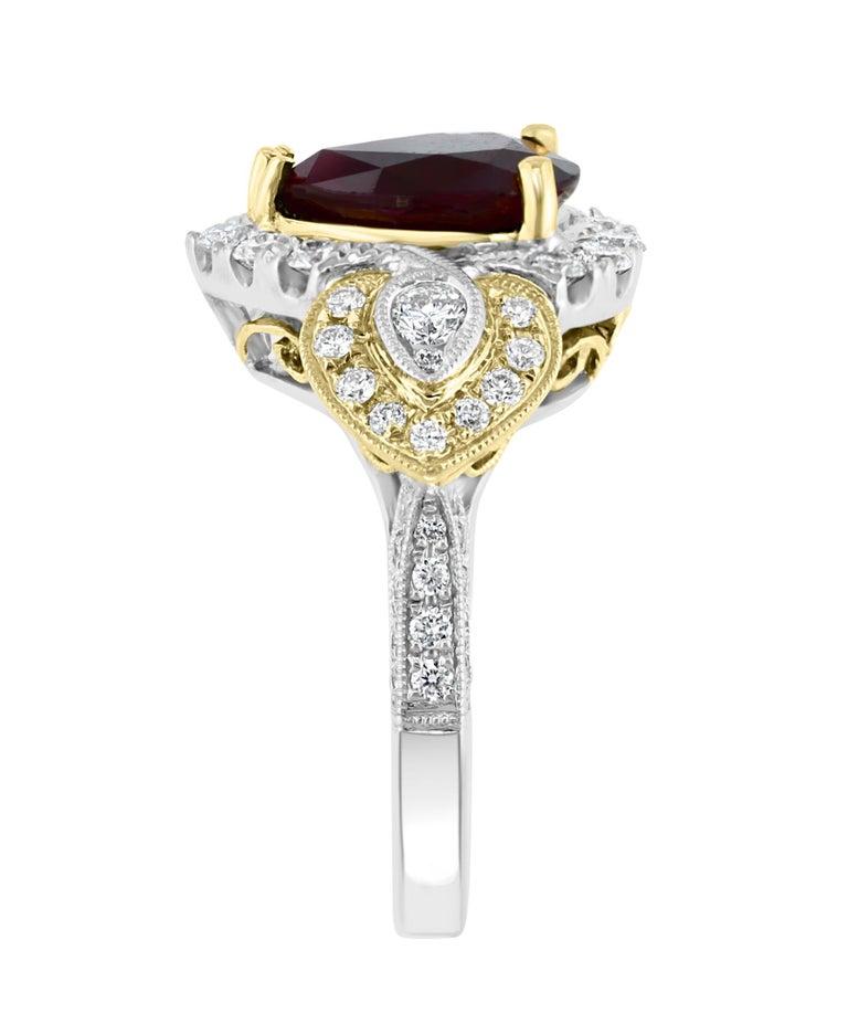 Pear Cut Effy Hematian 18 Karat 2-Tone Gold Diamond and Ruby Ring For Sale