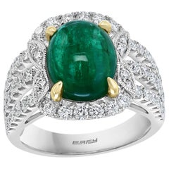Effy Hematian 2-Tone Gold Diamond and Cabochon Emerald Victorian Ring