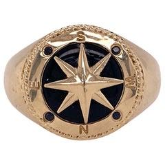 Effy Men's Compass Ring Onyx 14 Karat Yellow Gold