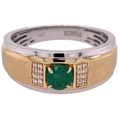 Effy Men's Emerald Diamond 14 Karat Two-Tone Ring