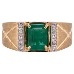 Effy Men's Emerald Diamond 14 Karat Yellow Gold Ring