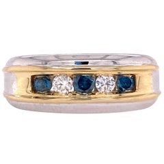 Effy Men's White and Blue Diamond 14 Karat Two-Tone Gents Ring