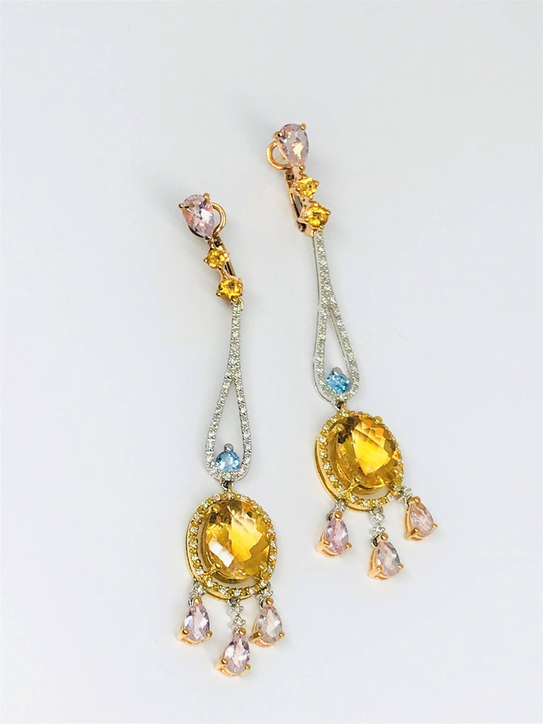 Effy morganite citrine topaz diamond chandelier earrings for sale at spectacular new effy chandelier style earrings these beauties are 18k tri color gold mozeypictures Gallery