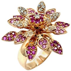 Effy Pink Sapphire and Diamond Blossoming Flower Rose Gold Cocktail Ring