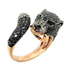 EFFY Signature Black and White Diamond Panther Bypass Ring 14 Karat Rose Gold