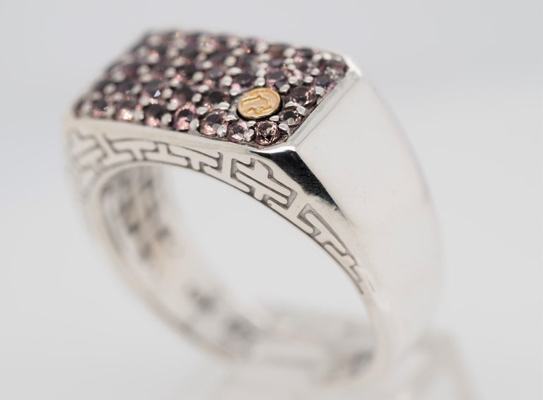 Contemporary Effy Sterling Silver and 18 Karat Gold 1.35 Carat Sapphire Men's Band Ring For Sale