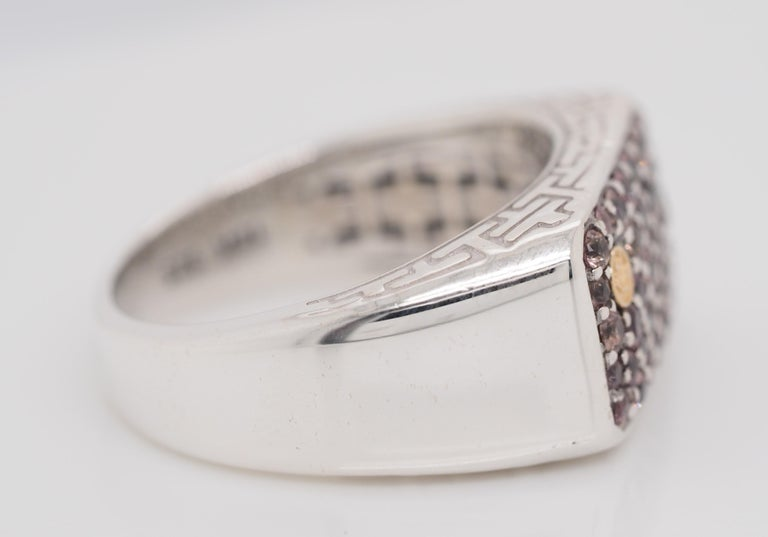 Women's or Men's Effy Sterling Silver and 18 Karat Gold 1.35 Carat Sapphire Men's Band Ring For Sale