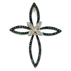 Effy White and Green Diamonds 14 Karat White Gold Butterfly Cross Pendant Charm