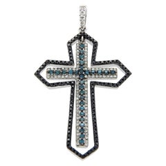 Effy White Black Green Diamonds 14 Karat White Gold Cross Pendant Charm