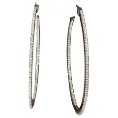 Effy's 1 Carat Diamond Inside Out Hoop Cocktail Earrings in 14 Karat White Gold