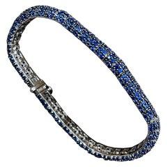Effy's 13.5 Carat Blue Sapphire Tennis Bracelet 14 Karat White Gold