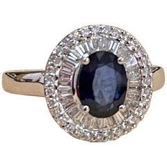 Effy's 1.4Ct Blue Sapphire & 0.52Ct Diamond Cocktail Ring in 14 Karat White Gold