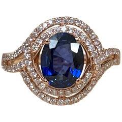 Effy's 1.9 Ct Blue Sapphire & 0.45 Carat Diamond Cocktail Ring in 14 Karat Gold