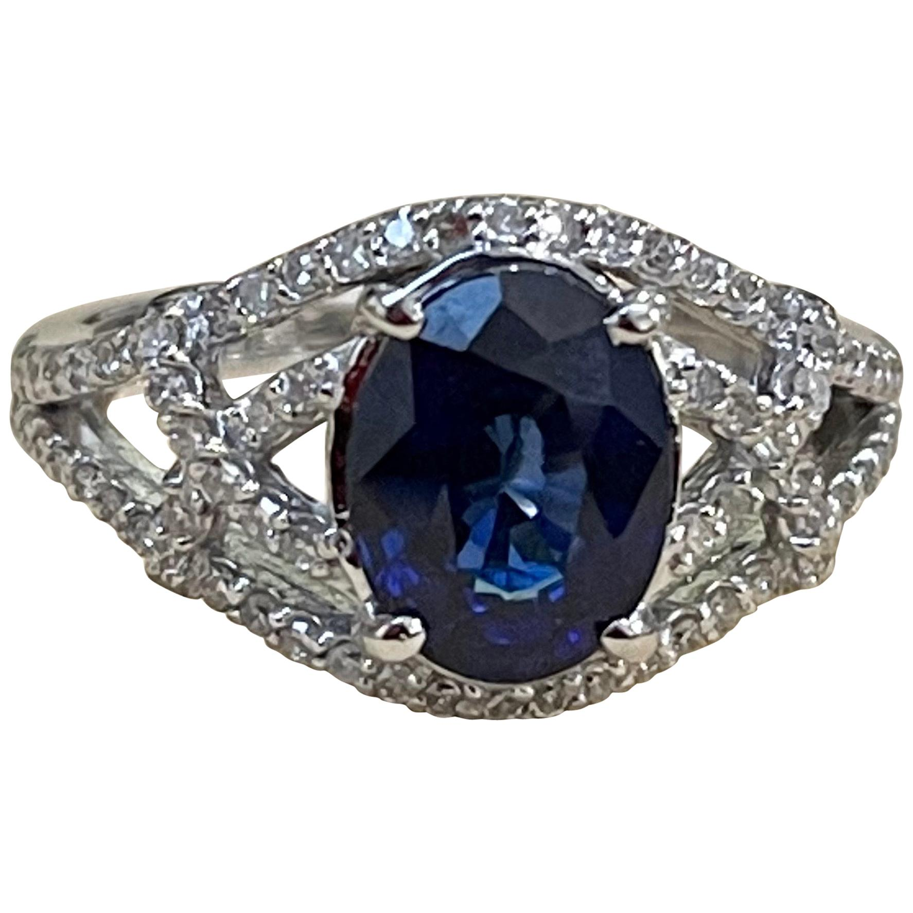 Effy's 1.9Ct Blue Sapphire & 0.36Ct Diamond Cocktail Ring in 14 Karat White Gold