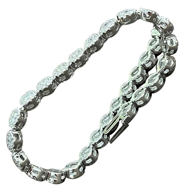 Effy's 5.5 Carat Basel Set Diamond Line Tennis Bracelet in 14 Karat White Gold For Sale