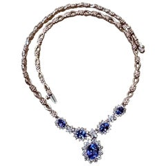 Effy's 5.5 Carat Oval Natural Tanzanite & 2.2 Ct Diamond Necklace 14 Karat Gold