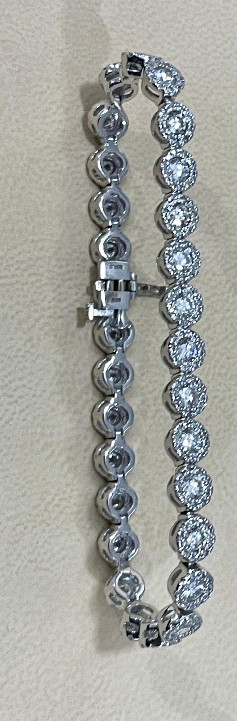 Effy's 5.5 Carat Basel Set Diamond Line Tennis Bracelet in 14 Karat White Gold For Sale 6