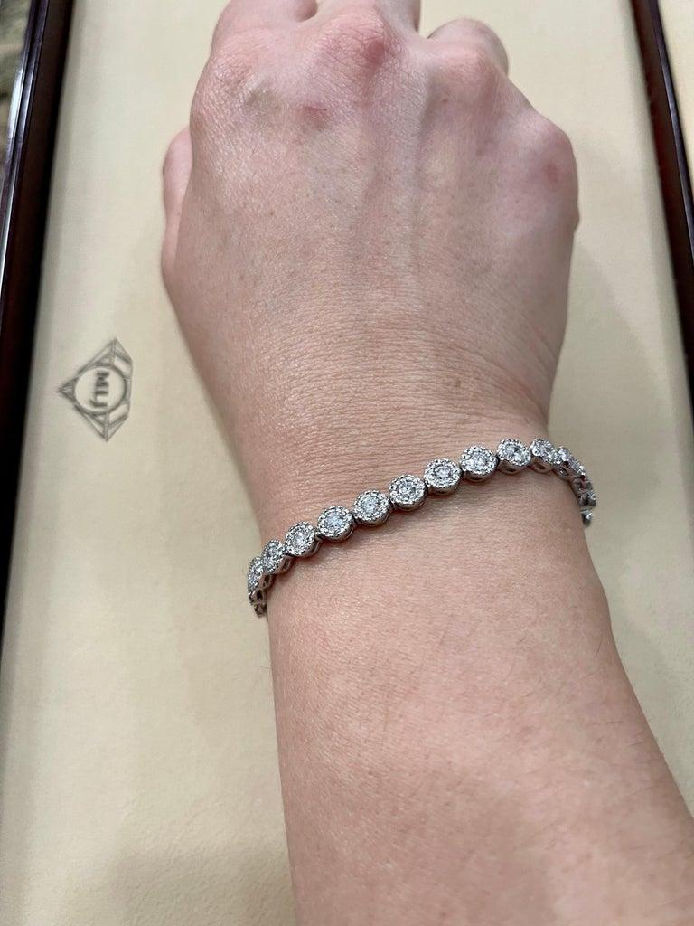 Effy's 5.5 Carat Basel Set Diamond Line Tennis Bracelet in 14 Karat White Gold For Sale 7