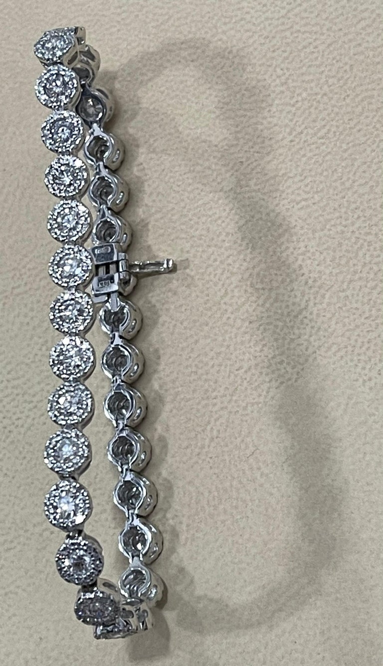 Effy's 5.5 Carat Basel Set Diamond Line Tennis Bracelet in 14 Karat White Gold For Sale 8