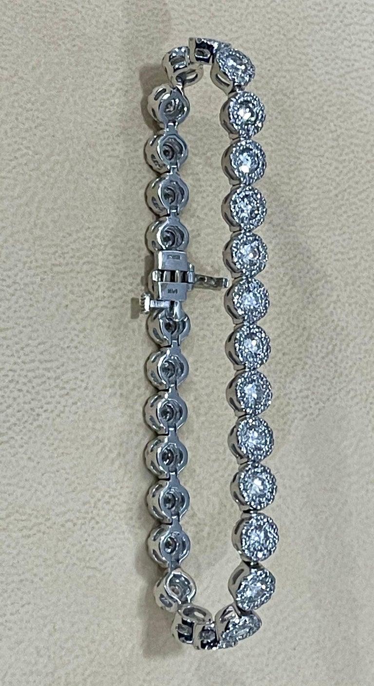 Effy's 5.5 Carat Basel Set Diamond Line Tennis Bracelet in 14 Karat White Gold For Sale 9