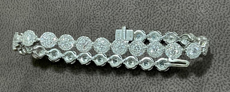 Round Cut Effy's 5.5 Carat Basel Set Diamond Line Tennis Bracelet in 14 Karat White Gold For Sale