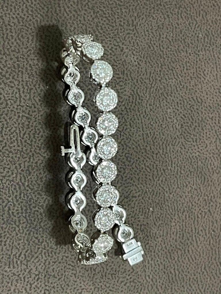 Women's Effy's 5.5 Carat Basel Set Diamond Line Tennis Bracelet in 14 Karat White Gold For Sale