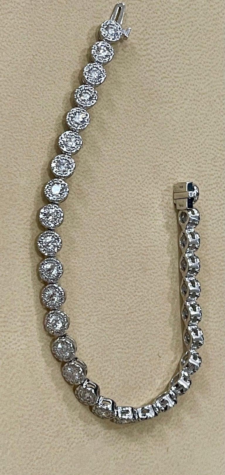 Effy's 5.5 Carat Basel Set Diamond Line Tennis Bracelet in 14 Karat White Gold For Sale 2
