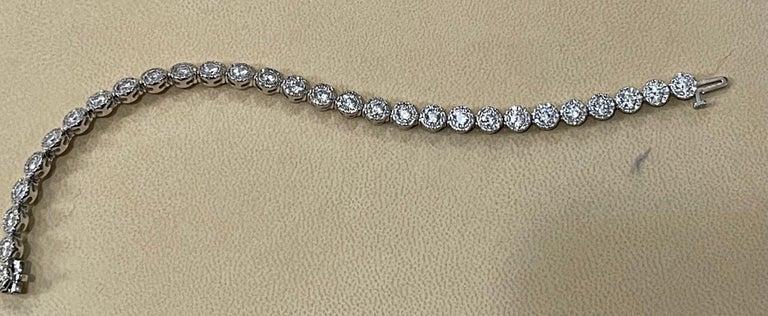Effy's 5.5 Carat Basel Set Diamond Line Tennis Bracelet in 14 Karat White Gold For Sale 3