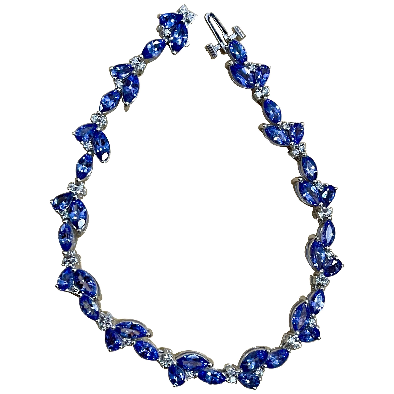Effy's 9 Carat Tanzanite & 0.5 Carat Diamond Tennis Bracelet 14 Karat White Gold