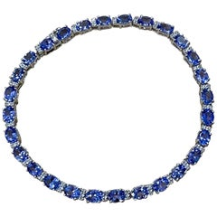 Effy's 9 Carat Tanzanite & .25 Carat Diamond Tennis Bracelet 14 Karat White Gold