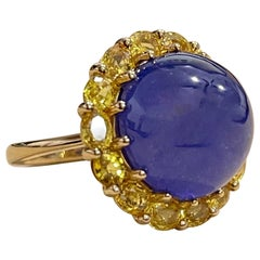 Effy's Cabochon Tanzanite and Yellow Sapphire Ring 14 Karat Yellow Gold