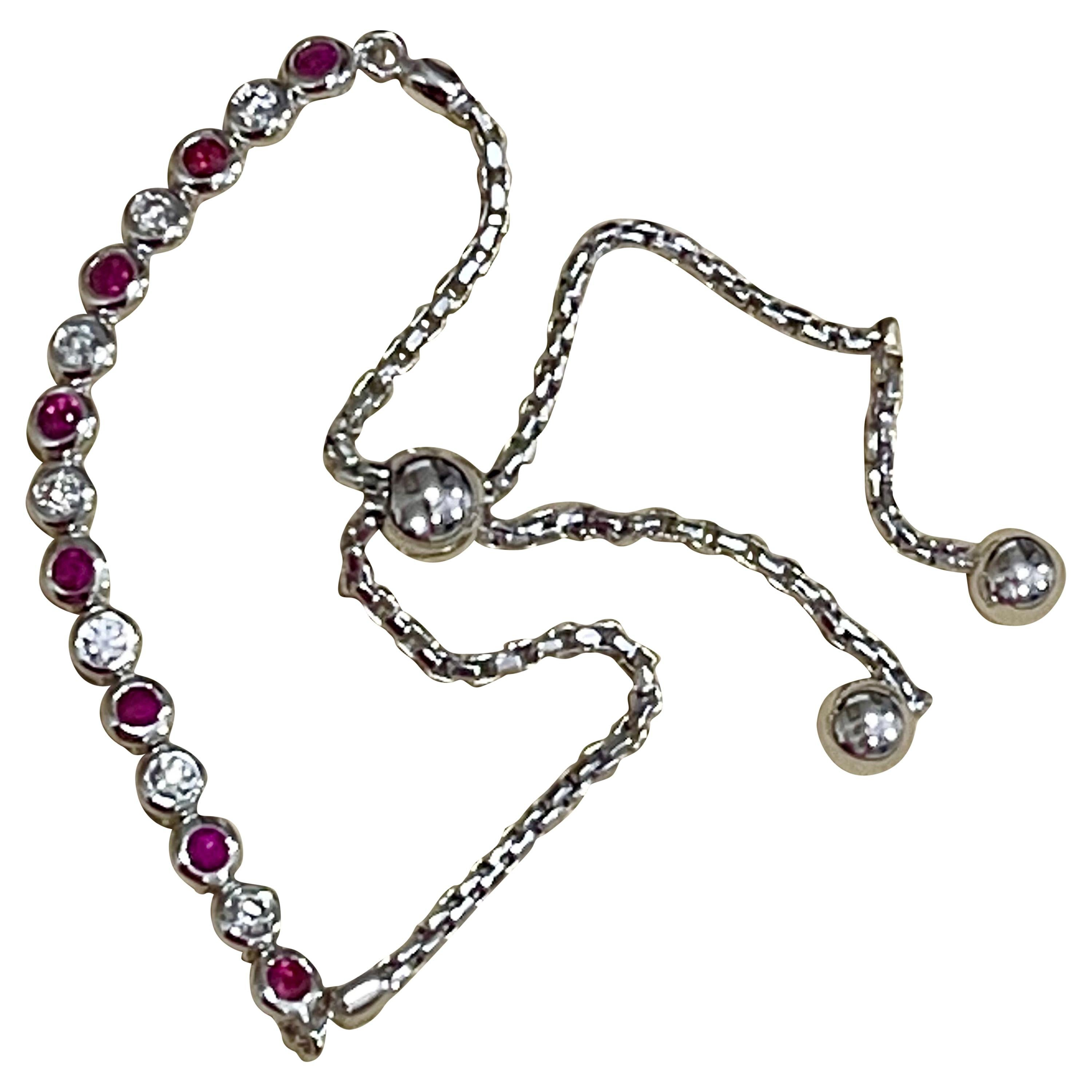 Effy's Diamond and Ruby Line Tennis Bracelet in White Gold Bolo Adjustable Clasp
