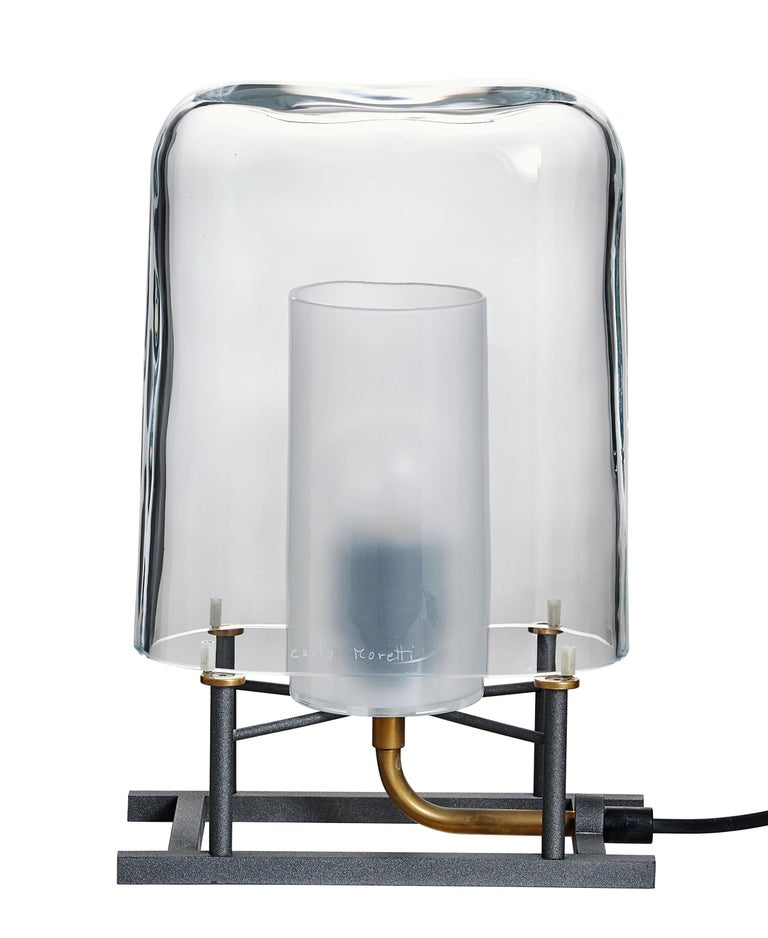 Glazed Efra Carlo Moretti Clear Murano Glass Table Lamp, Lamp Shade Only For Sale