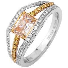 EG Lab Certified Fancy Yellow 1.06 Carat Natural Diamond White Gold Ring