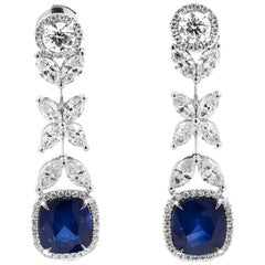 EG LAB Certified White Gold Sapphire Diamond Earrings, 11.62 Carat