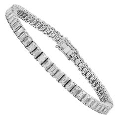 EG LAB White Gold Emerald Cut Diamond Tennis Bracelet, 9.37 Carat