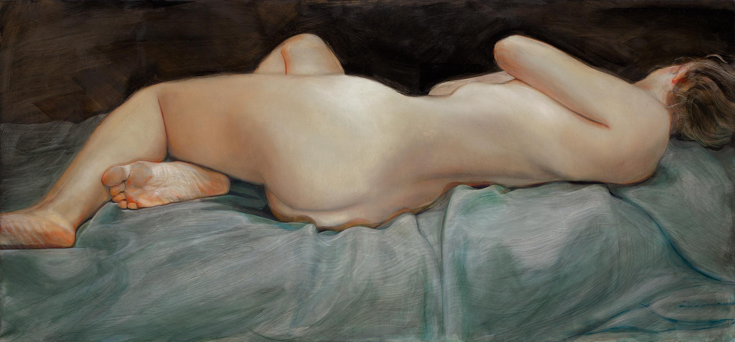 Lying down- 21 st Century Contemporary Painting of a nude woman lying down
