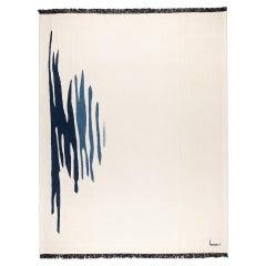 Ege No 1 Contemporary Modern Kilim Rug, Wool Handwoven Dune White & Blue