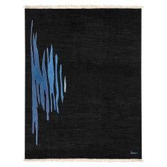 Ege No 1 Contemporary Modern Kilim Rug, Wool Handwoven Midnight & Blue