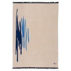 Ege No 1 Contemporary Modern Kilim Rug, Wool Handwoven Sand & Blue