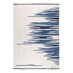 Ege No 2 Contemporary Modern Kilim Rug, Wool Handwoven Dune White & Blue